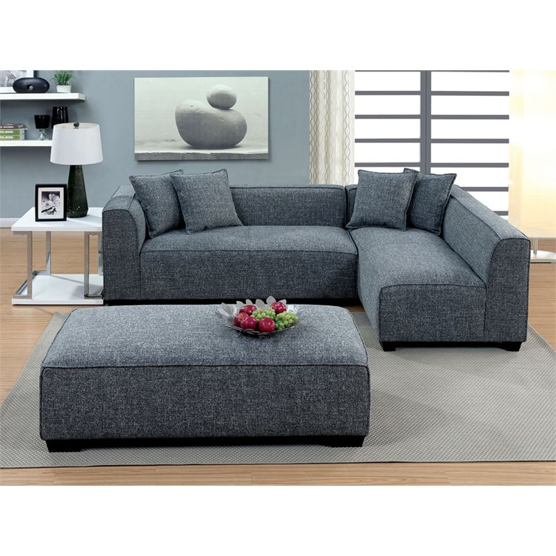 furniture of america kolby contemporary fabric oversized ottoman in gray