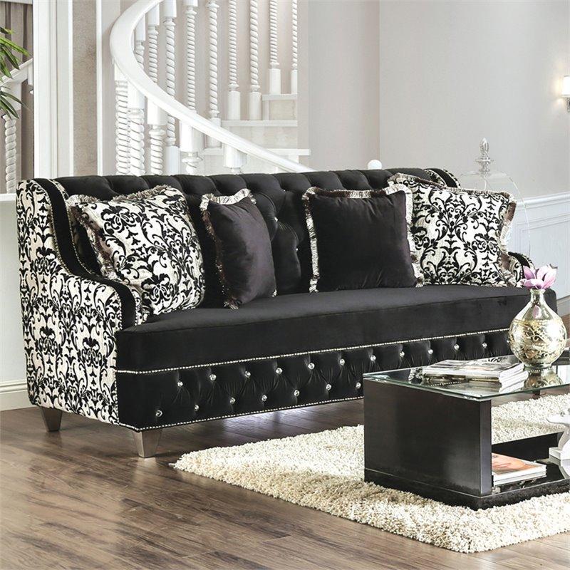 Furniture of America Lain Damask Fabric Sofa in Black