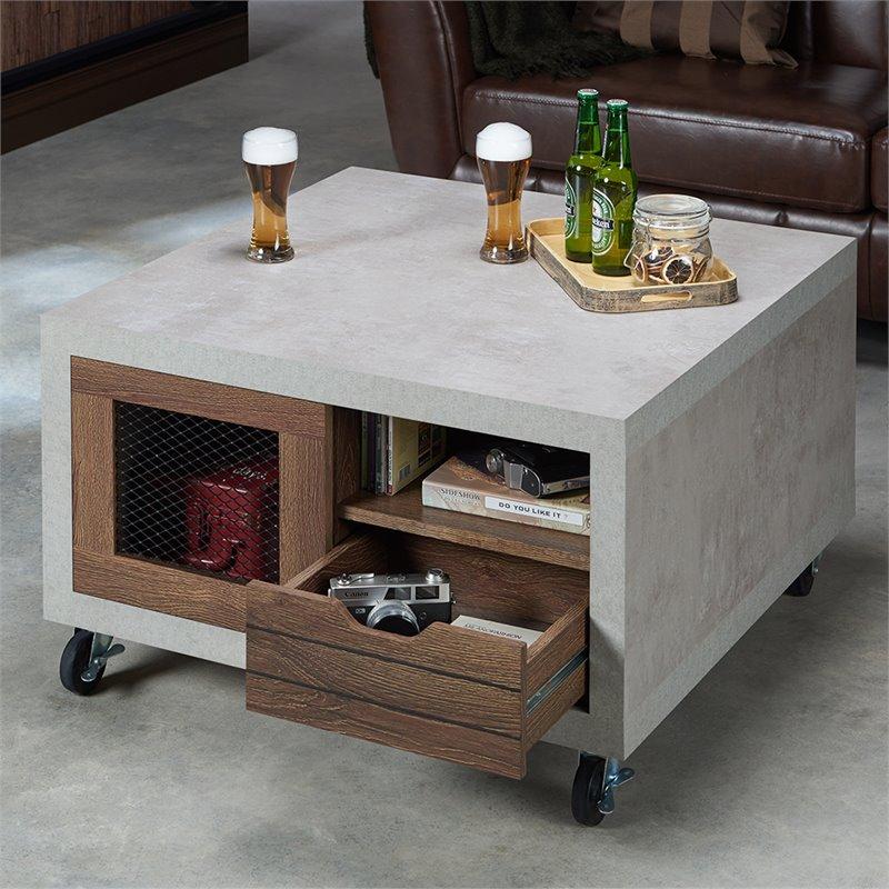 furniture of america erix storage wood coffee table in distressed walnut