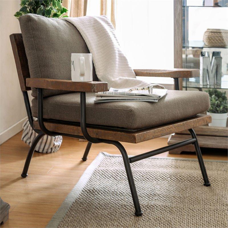 furniture of america colette rustic metal legs accent chair in natural tone