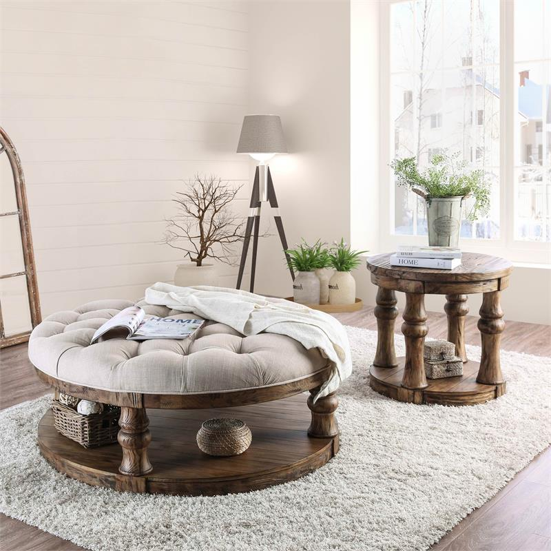 furniture of america joss rustic round wood tufted coffee table in antique oak