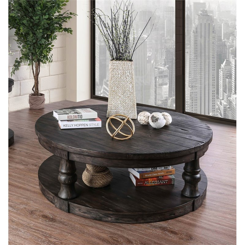 furniture of america joss rustic round wood coffee table in antique gray