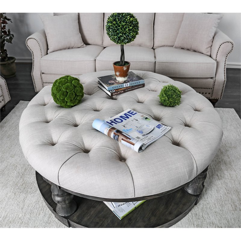 furniture of america joss rustic round wood tufted coffee table in antique gray