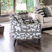 Furniture Of America Barol Chenille Accent Chair In Gray