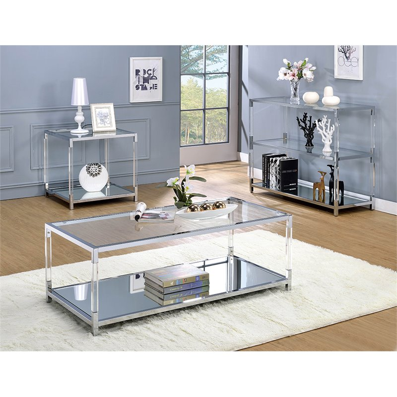furniture of america jask contemporary glass top coffee table in chrome