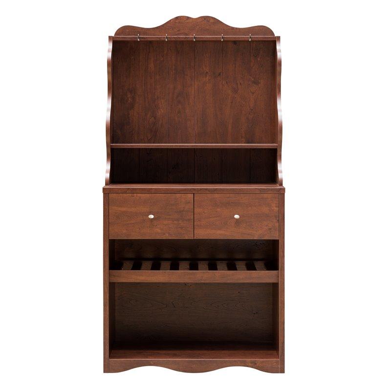 furniture of america hazleton transitional wood baker rack in vintage walnut
