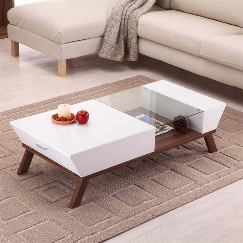 furniture of america soto contemporary wood coffee table with storage in white