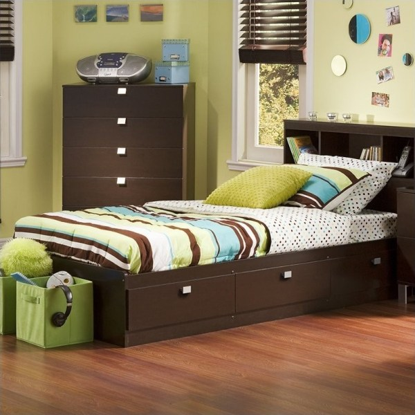 South Shore Cakao Kids Twin Storage Mates Frame Chocolate Finish Bed