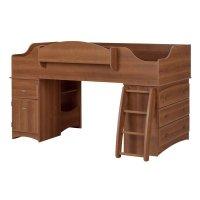 South Shore Imagine Twin Wood Loft Bed Set in Morgan ...