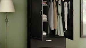 South Shore Acapella Wardrobe Armoire In Pure Black 5370038