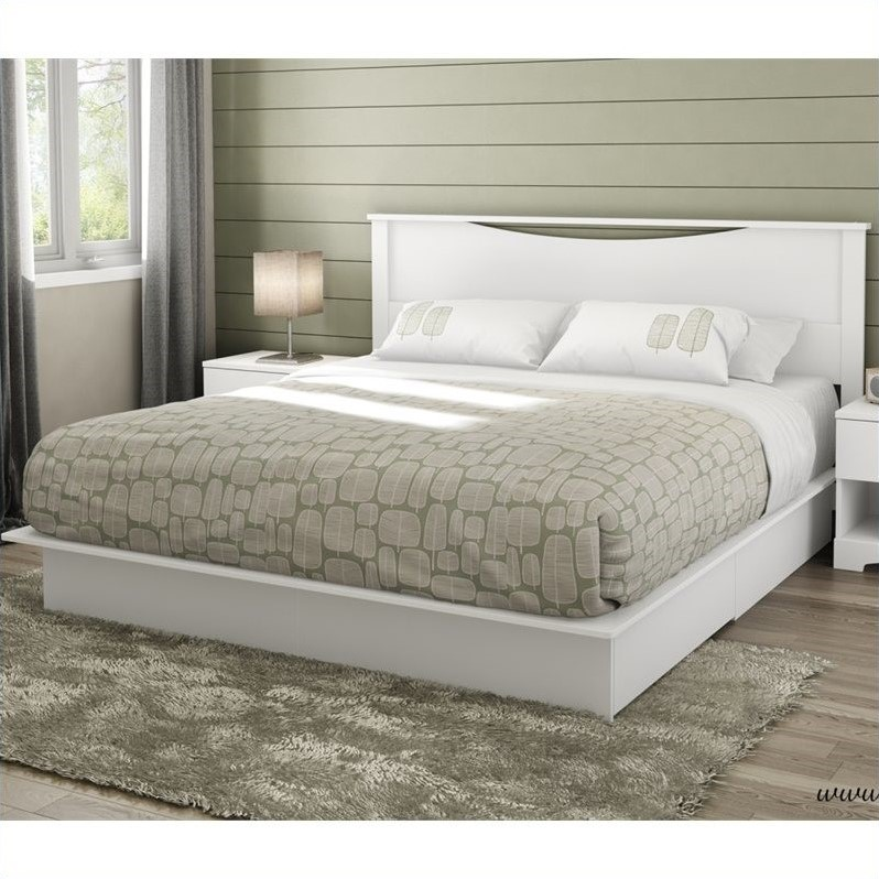 South Shore Step One King Platform Bed with Headboard and