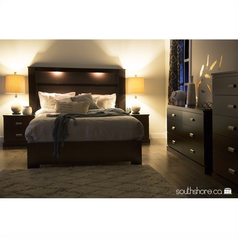 South Shore Gloria King Panel Headboard With Lights In Brown 3659290