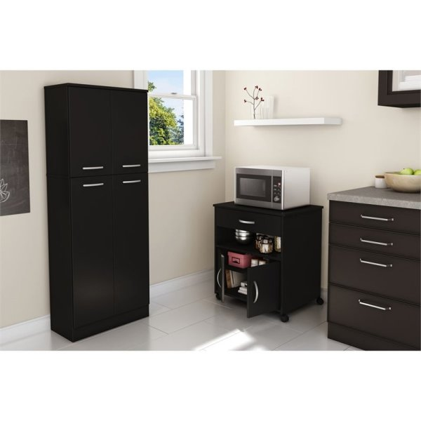 South Shore Axess Microwave Cart In Pure Black - 10013