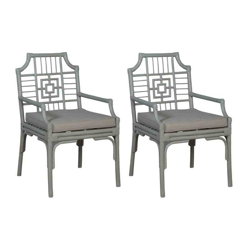 gray rattan dining chairs chair covers for parties rentals guildmaster manor in set of 2