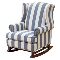 Bowery Hill Fabric Rocking Chair in Blue and Ivory - BH-592453