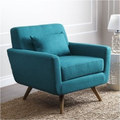 Living Room Chaise Lounge Chair Best Lumbar Support For Bowery Hill Tufted Fabric Arm In Teal Blue - Bh-641924