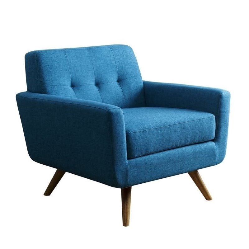 Bowery Hill Tufted Fabric Arm Chair in Teal Blue  BH641924