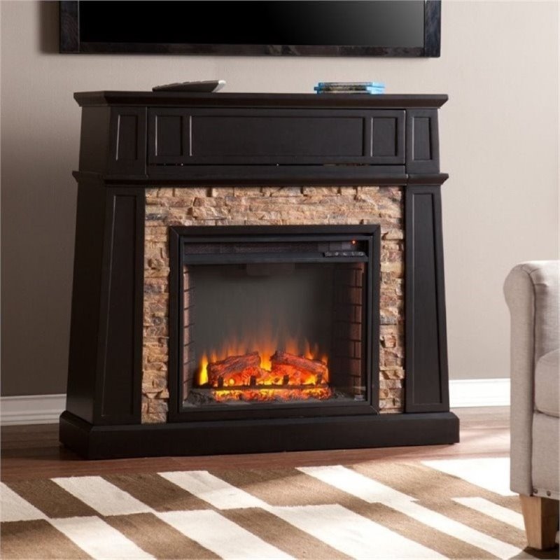 Bowery Hill 44 Faux Stone Fireplace TV Stand in Black