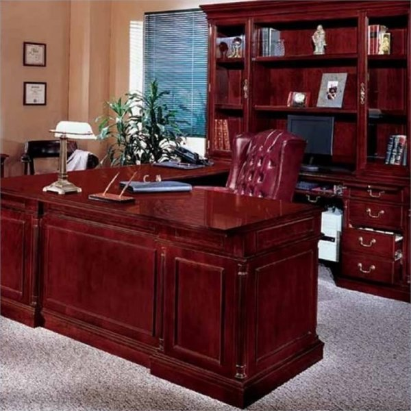Bowery Hill U Shaped Executive Desk In English Cherry - Bh