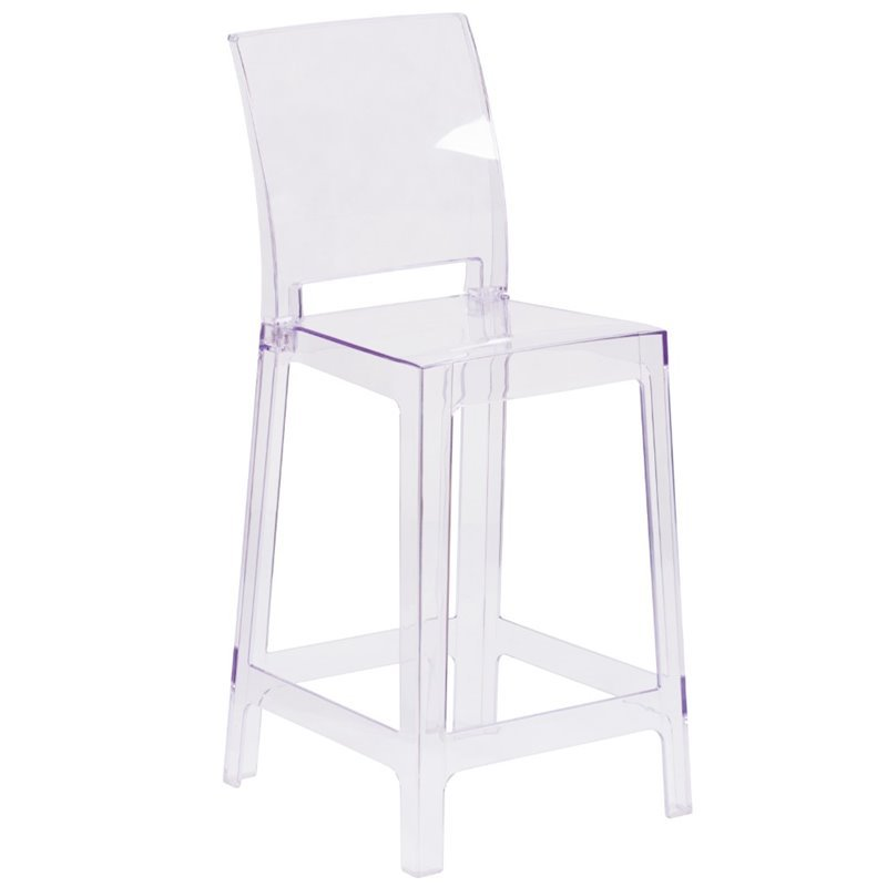 ghost bar chair table and covers for parties bowery hill square back stool in transparent crystal bh 1632401