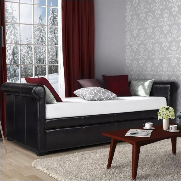 Upholstered Daybed with Trundle Bed