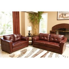 2 Piece Brown Leather Sofa Assemble Yourself Pemberly Row Set In Burgundy