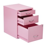 Scranton & Co 3 Drawer Metal File Cabinet in Pink - SC-1452393