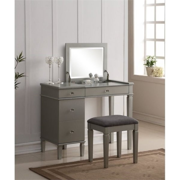 Atlin Design 2 Piece Bedroom Vanity Set In Silver - Ad-638329