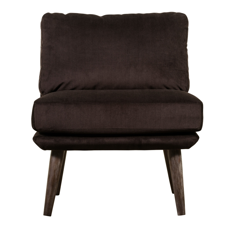 brown slipper chair folding design history elle decor sophie armless in chocolate uph20027c