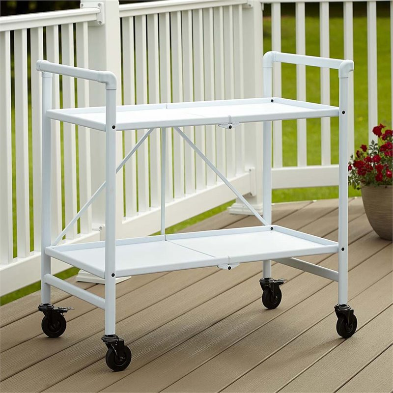 Folding Serving Bar Cart In White 87602WHT1E