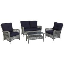Cosco Outdoor Lakewood Ranch 4 Piece Wicker Patio Sofa Set