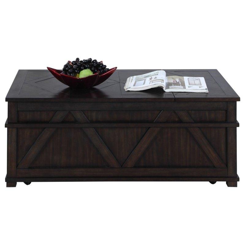 progressive foxcroft storage coffee table trunk in dark pine