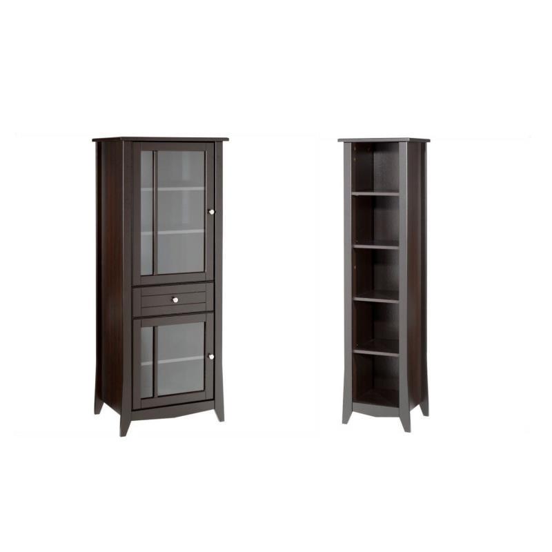 bookcase cabinets living room fan ideas 2 piece and curio cabinet set in espresso 1855982 pkg