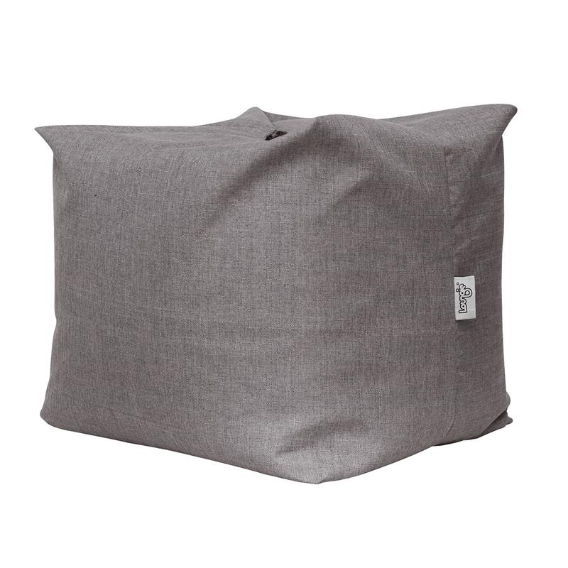 set of 2 magic pouf grey linen beanbag 3 in 1 ottoman chair pillow