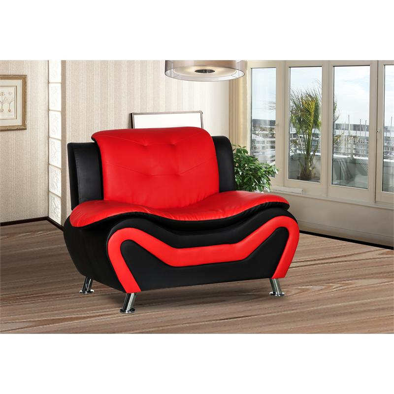 kingway furniture gilan faux leather 3 pc loveseat and 2 chair set in black red