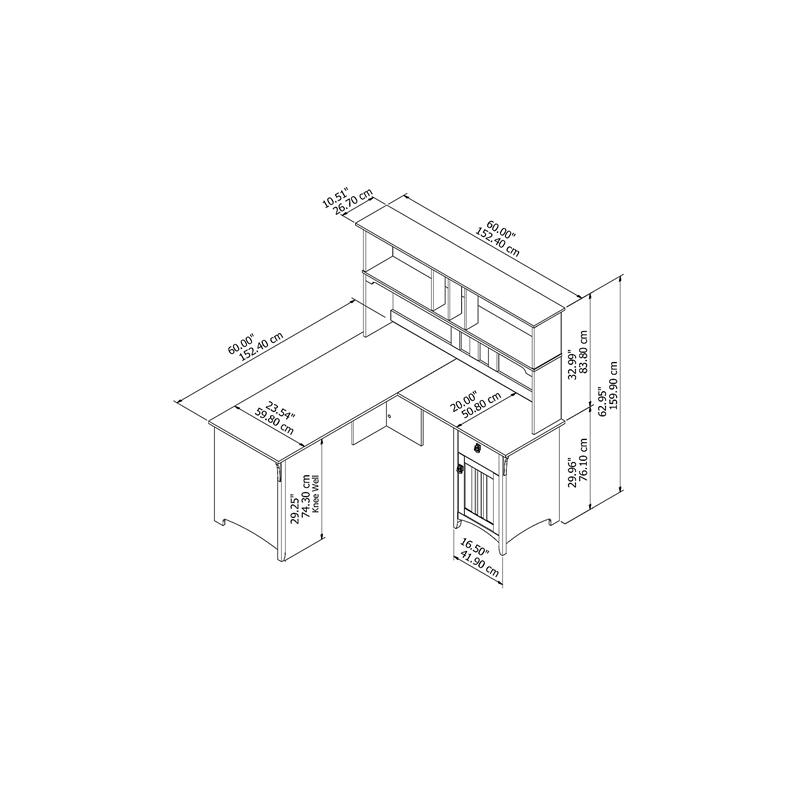 Bush Furniture Salinas 60W L Shaped Desk with Hutch in