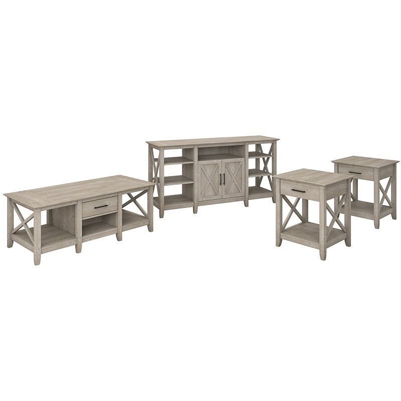 bush furniture key west tall tv stand with coffee table and set of 2 end tables