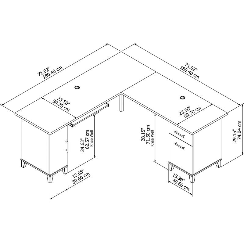 Bush Furniture Somerset 72W L Shaped Desk in Hansen Cherry