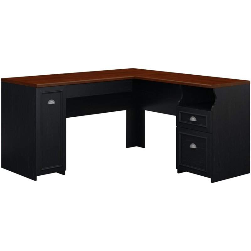 Bush Furniture Fairview LShaped Wood Black Computer Desk
