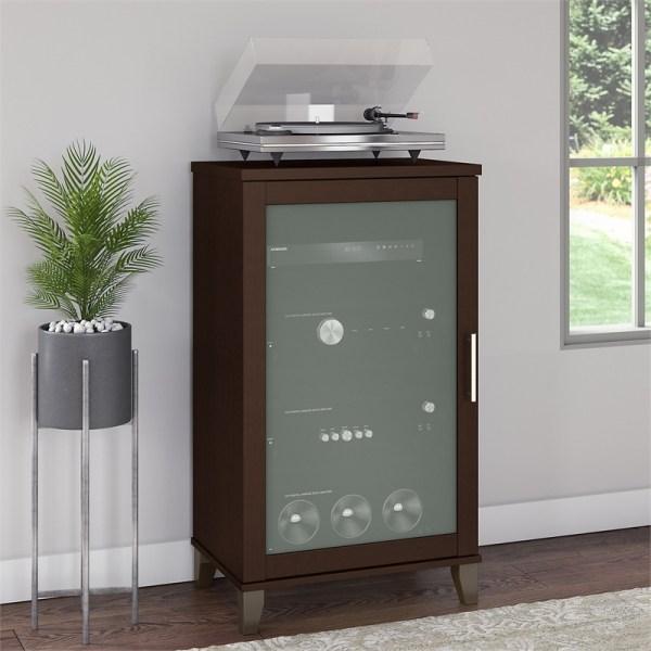 Bush Furniture Somerset Media Cabinet In Mocha Cherry - Ad81840