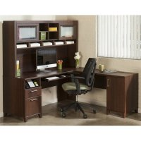 Bush Achieve L Shape Home Office Desk with Hutch in Sweet ...