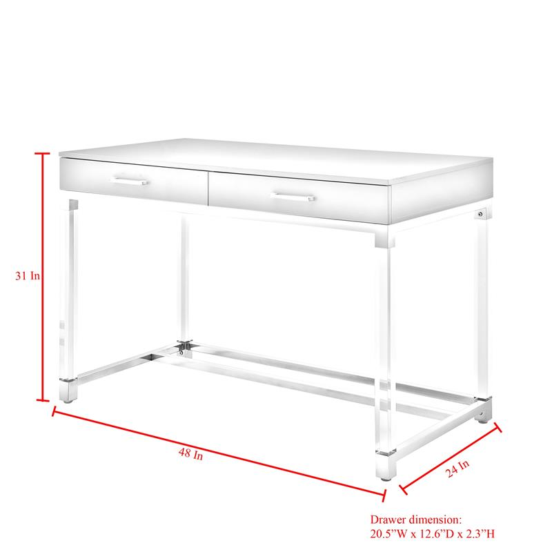 Posh Briar 2-Drawer Metal Writing Desk with Acrylic Legs