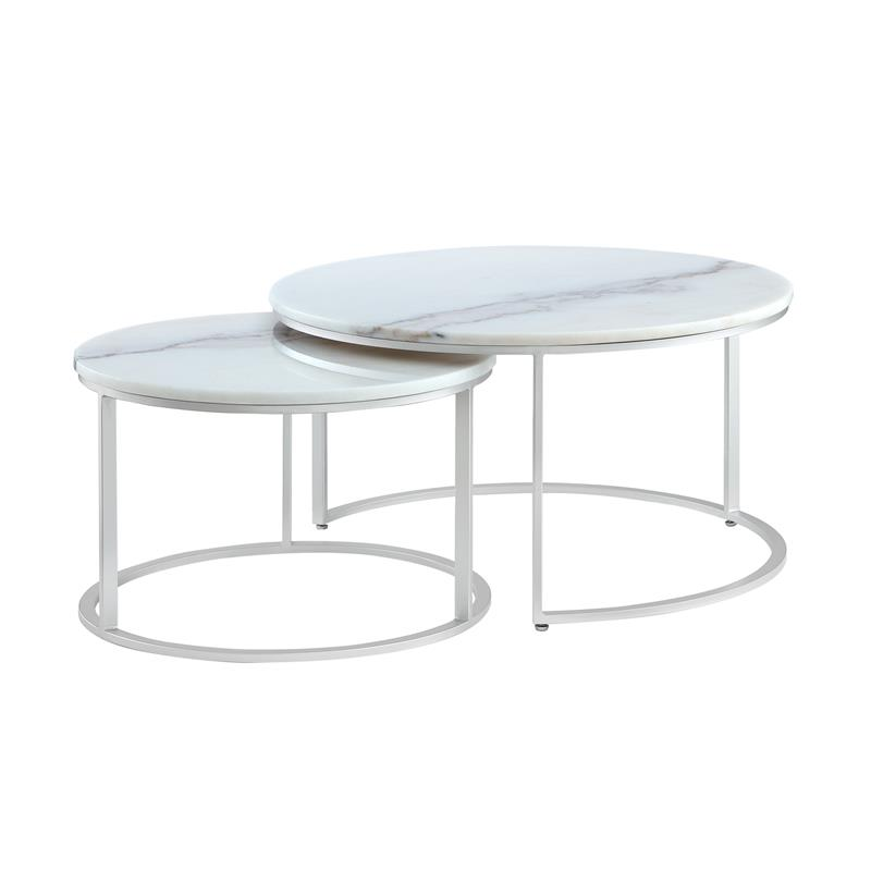 posh living kero round marble top nesting coffee table in silver