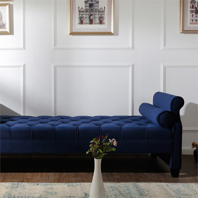 eliza roll arm sofa bed with bolster pillows navy blue