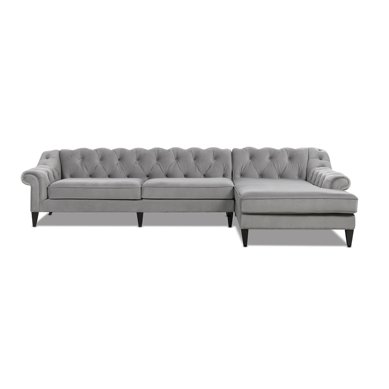 alexandra 132 tufted sofa chaise sectional left arm facing opal grey velvet