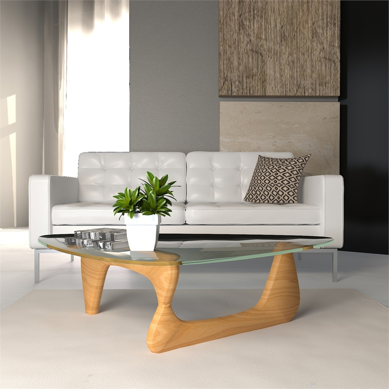 leisuremod imperial triangle wooden glass top coffee table in natural