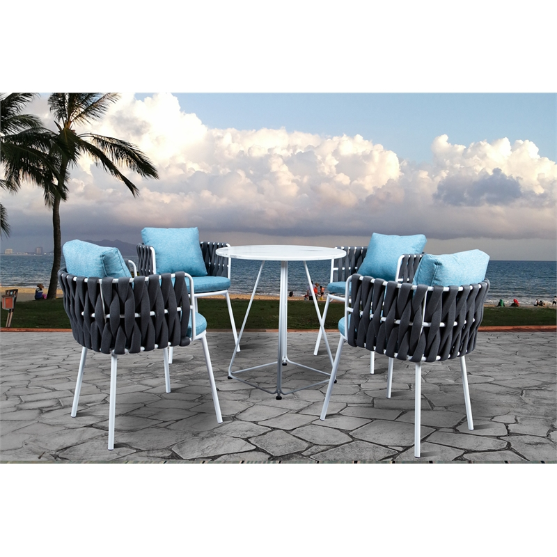 leisuremod spencer modern 5 pc cast iron rope outdoor patio dining set in gray