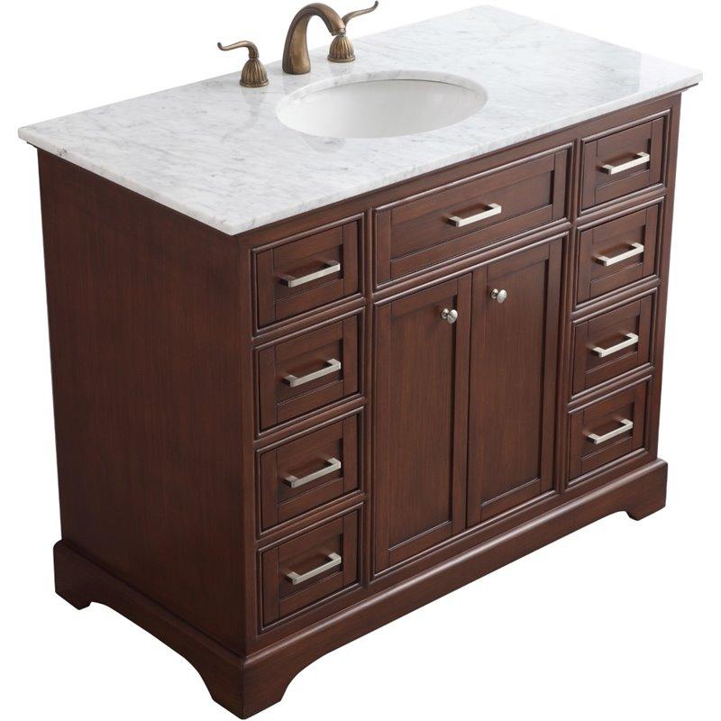 Elegant Decor Americana 42 Single Marble Top Bathroom Vanity In Teak Vf15042tk Cymax Stores