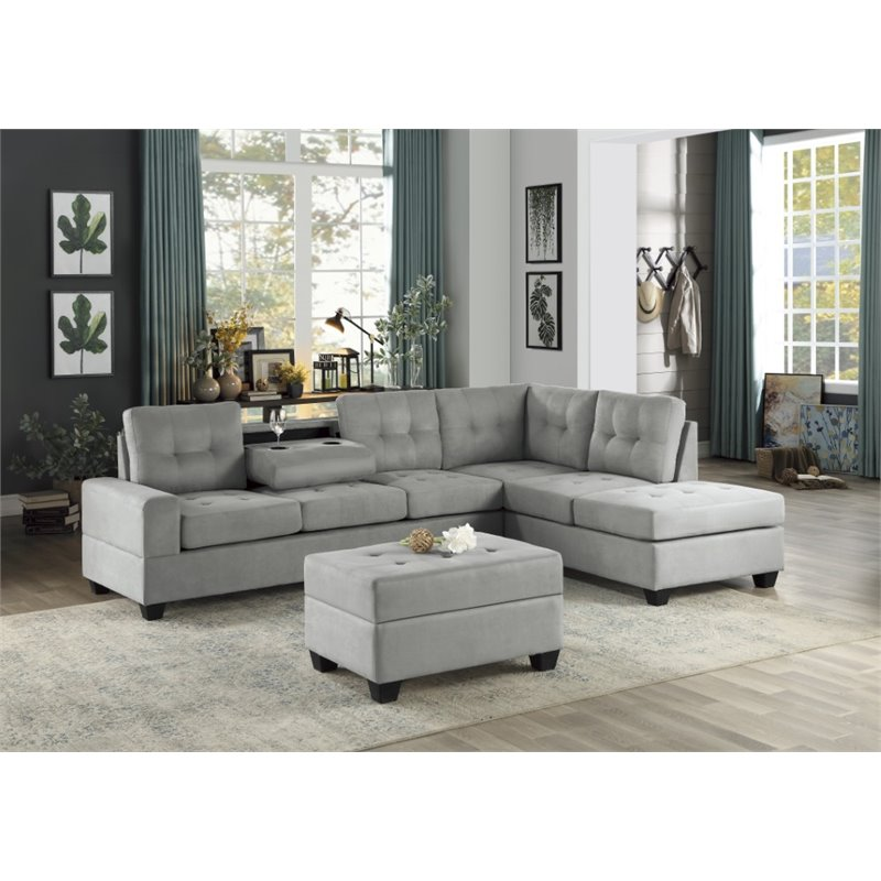 lexicon maston microfiber sectional sofa in gray