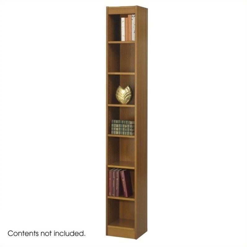 12 Inch Wide 7Shelf Veneer Baby Bookcase in Medium Oak